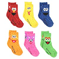 Sesame Street Elmo Boy's Girl's Multi Pack Crew Socks with Grippers (Baby/Toddler)