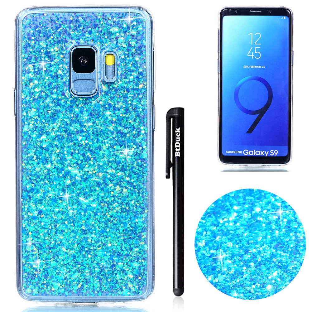 Galaxy S9 Case,Samsung S9 Case Glitter,BtDuck Soft TPU Case Clear Phone Protector Strict Shockproof Cover Retro Crystal Phone Case Bling Shiny Case Luxury Upscale Cover Anti-slip Skin Slim Fit Phone Case Cover Anti-Scratch Phone Protector Gradient Glitter