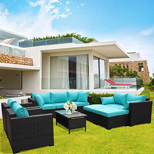 Rattaner Outdoor PE Wicker Furniture Set 7 Pieces Patio Garden Conversation Cushioned Seat Couch Sofa Chair Set-Turquoise Cushion
