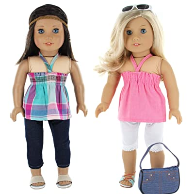 7 Pc. Casual Everyday Outfit Set Fits 18 Inch Doll Clothes Includes- X2 Pants, X2 Tops, Headband, Sun Glasses and Pocketbook: Toys & Games