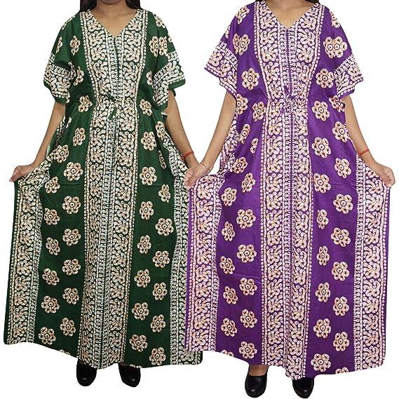 a952e3132d1 Women s Floral Cotton Maxi Kaftan Kimono Style 2pc Comfy House Dress ...