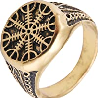 Helm of Awe Ring Mammen Style Antique Gold-Color Scandinavian Norse Viking Jewelry