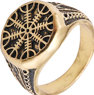 TEAMER Helm of Awe Ring Mammen Style Antique Gold-Color Scandinavian Norse Viking Jewelry