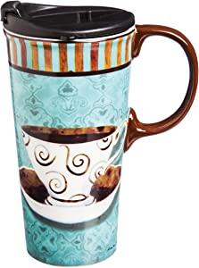 "Cypress Home Deja Brew 17 oz Boxed Ceramic Perfect Travel Coffee Mug or Tea Cup with Lid - 3""W x 5.25""D x 7""H"