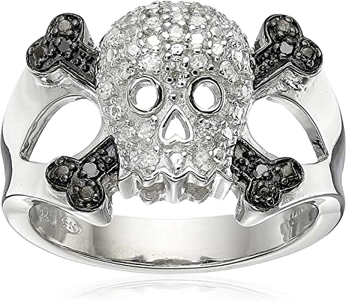 925 Sterling Silver 1 10 Cttw Black White Diamond Skull And Crossbones Men S Or Ladies Ring I J Color I2 I3 Clarity Amazon Com