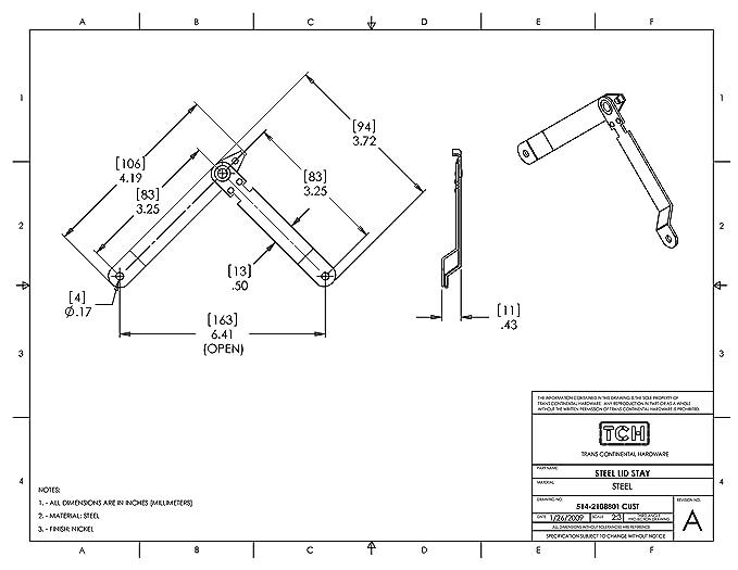 Tch Hardware 2 Pack Steel Lid Stay 7