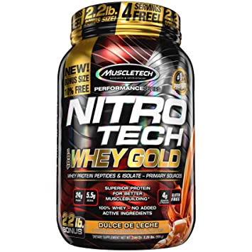 MuscleTech Nitrotech Whey Gold/Isolate/Peptides, Dulce De Leche, 2.2 Pound