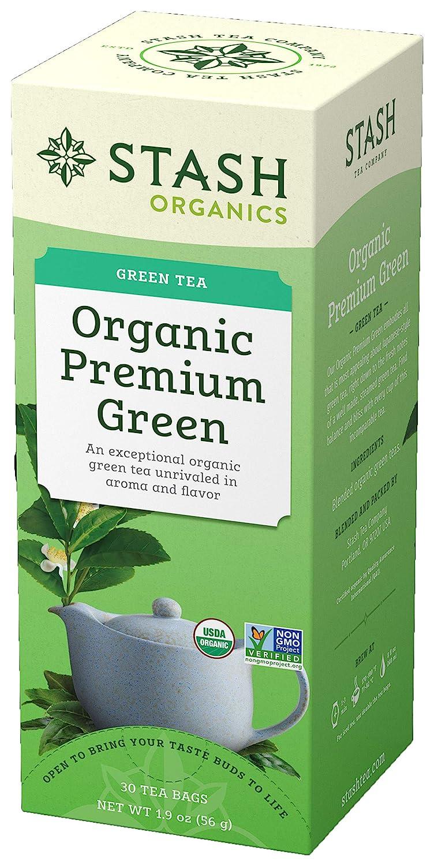 Stash Tea Organic Premium Green Tea, 30 Count Tea Bags in Foil (Pack of 6) Individual Green Tea Bags for Use in Teapots Mugs or Cups, Brew Hot Tea or Iced Tea