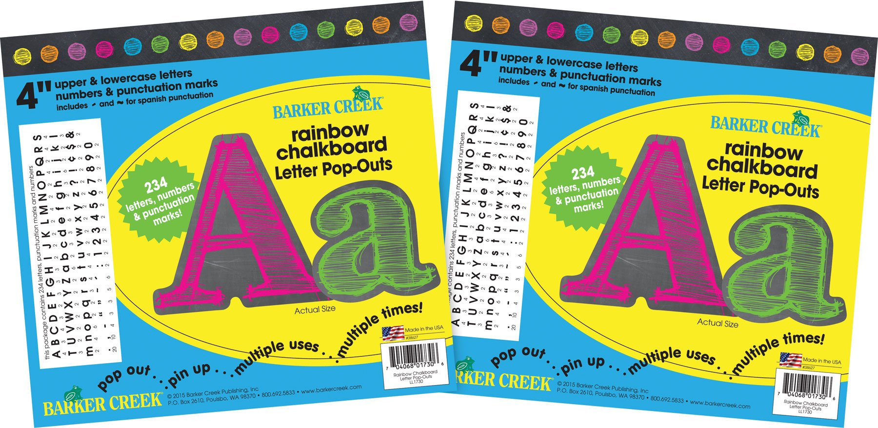 Barker Creek 4'' Letter Pop-Outs 2 Pack - Rainbow Chalk (BC3648) by BARKER CREEK