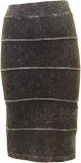 product image for Hard Tail Forever Stretchy Knee Length Paneled Pencil Skirt, Slim Fit Style W-611