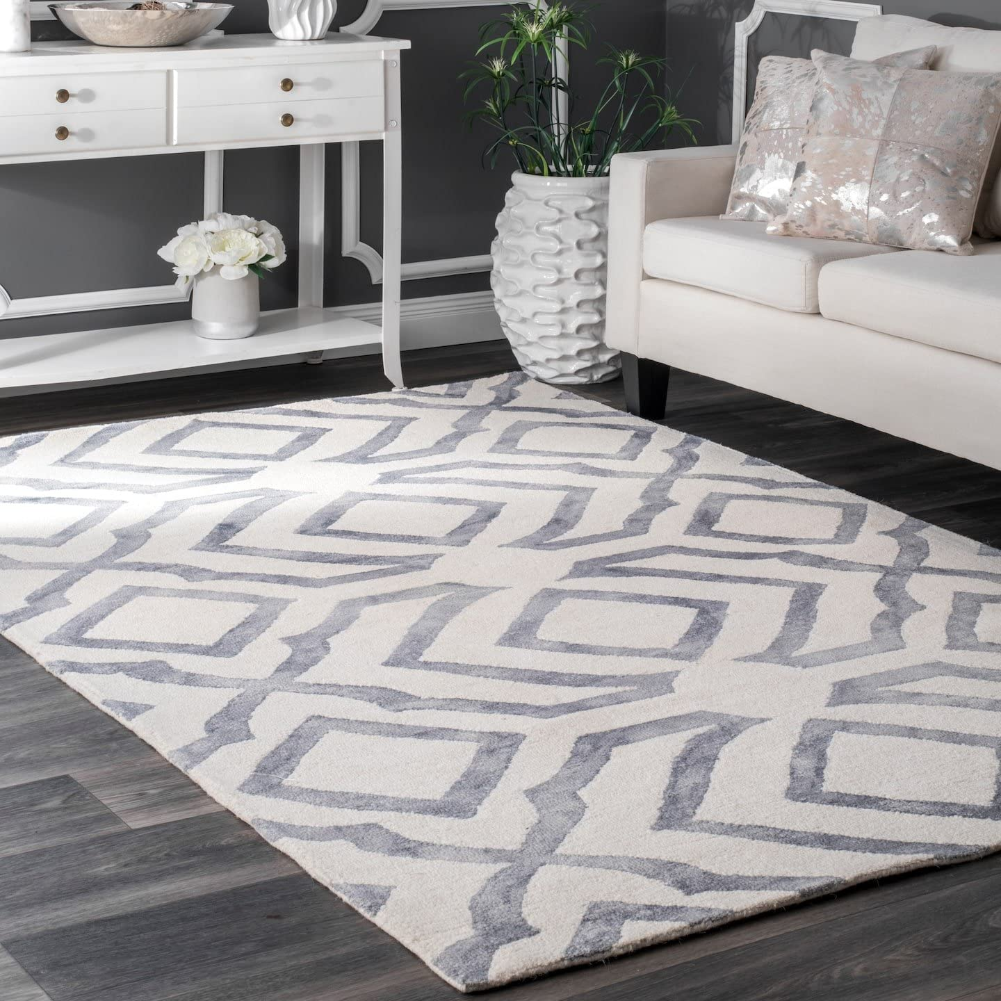 nuLOOM Baggett Hand Looped Wool Rug, 8 6 x 11 6 , Grey