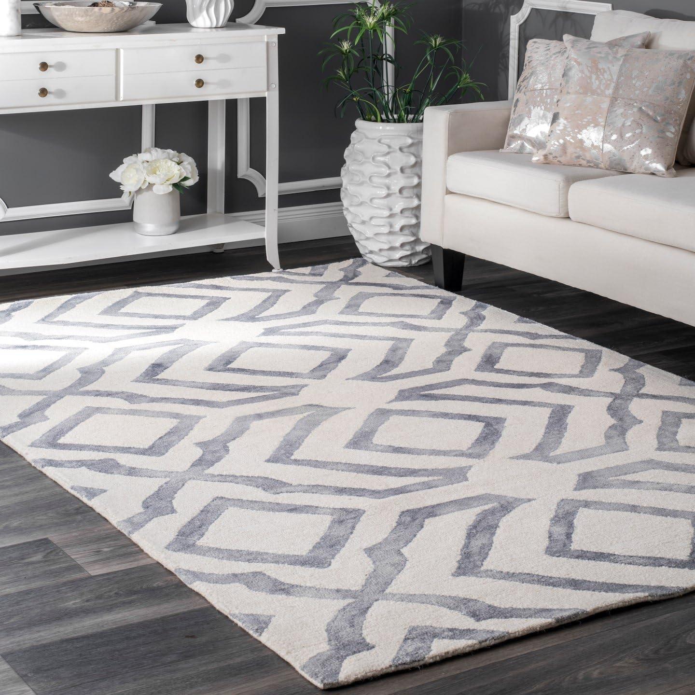 nuLOOM Baggett Hand Looped Wool Rug, 8 6 x 11 6 , Grey