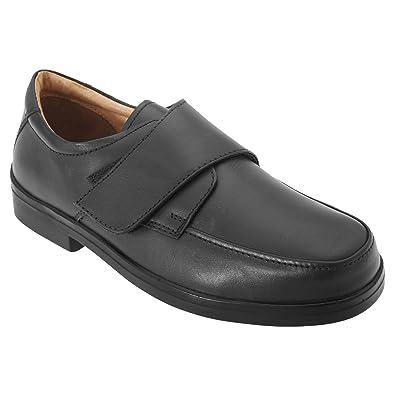 Roamers - Chaussures de ville en cuir extra larges avec sangle velcro - Homme (42 EUR) (Marron) GIiVgL