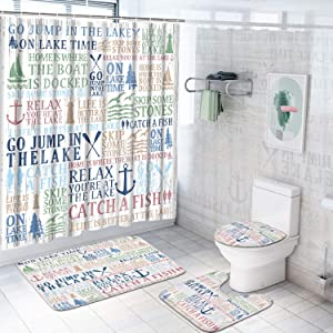 4 Pcs Lake Words Shower Curtain Sets with Non-Slip Rugs, Toilet Lid Cover and Bath Mat, Lake Time Shower Curtain with 12 Hooks, White Lake House Shower Curtain for Bathroom, Waterproof, Durable