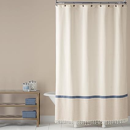 Saturday Knight Fringe Border Shower Curtain Blue
