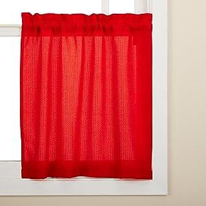 LORRAINE HOME FASHIONS Ribcord Window Curtain Tier, 54