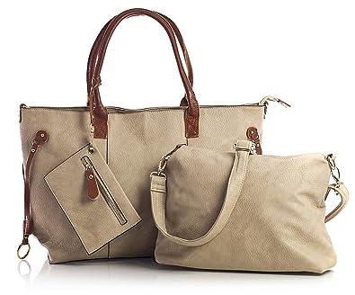 044d8426de6 Womens Weekend Shopper Bag - Top Zip Opening 3 in 1 Tote Long Shoulder  Strap Handbag - Large