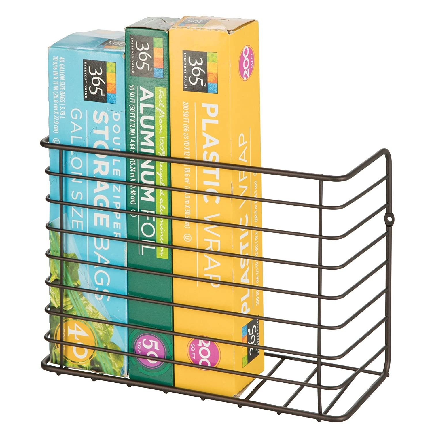 mDesign Wall & Cabinet Door Mount Kitchen Storage Organizer Basket Rack - Mount to Walls and Cabinet Doors in Kitchen, Pantry, and Under Sink - Solid Steel Wire with Bronze Finish MetroDecor