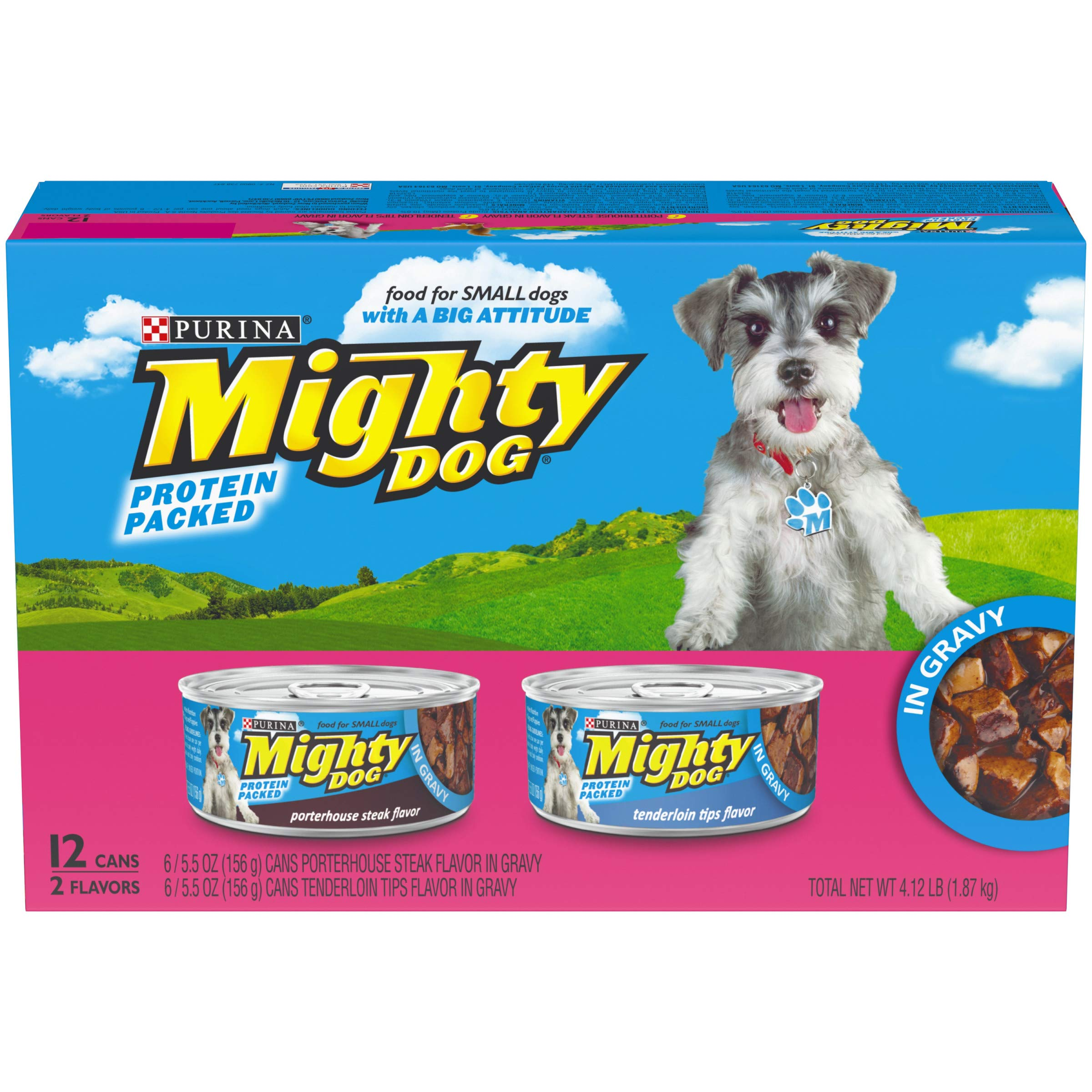 Purina Mighty Dog Small Breed Gravy Wet Dog Food Variety Pack, Porterhouse Steak & Tenderloin Tips Flavors - (2 Packs of 12) 5.5 oz. Cans by PURINA Mighty Dog