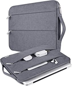 "V Voova 14-15.6 Inch Laptop Sleeve Water Resistant Carrying Case with Handle Compatible with MacBook Pro 15 15.4/Surface Book 2 15""/Asus/Dell/HP Chromebook 14 Notebook Computer Bag,Grey"