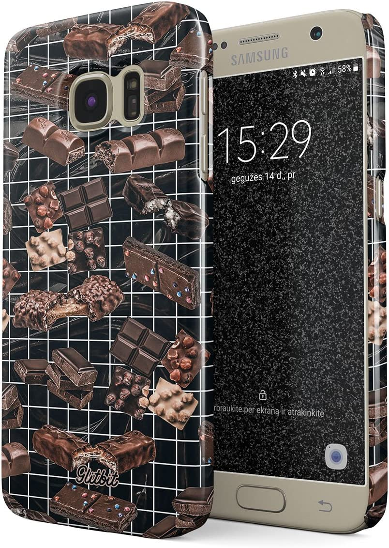 Glitbit Compatible with Samsung Galaxy S7 Case Chocolate Addiction Sweet Candies Guilty Pleasure Choco Bar Addict Lover Food Print Brownie Thin Design Durable Hard Shell Plastic Protective Case Cover