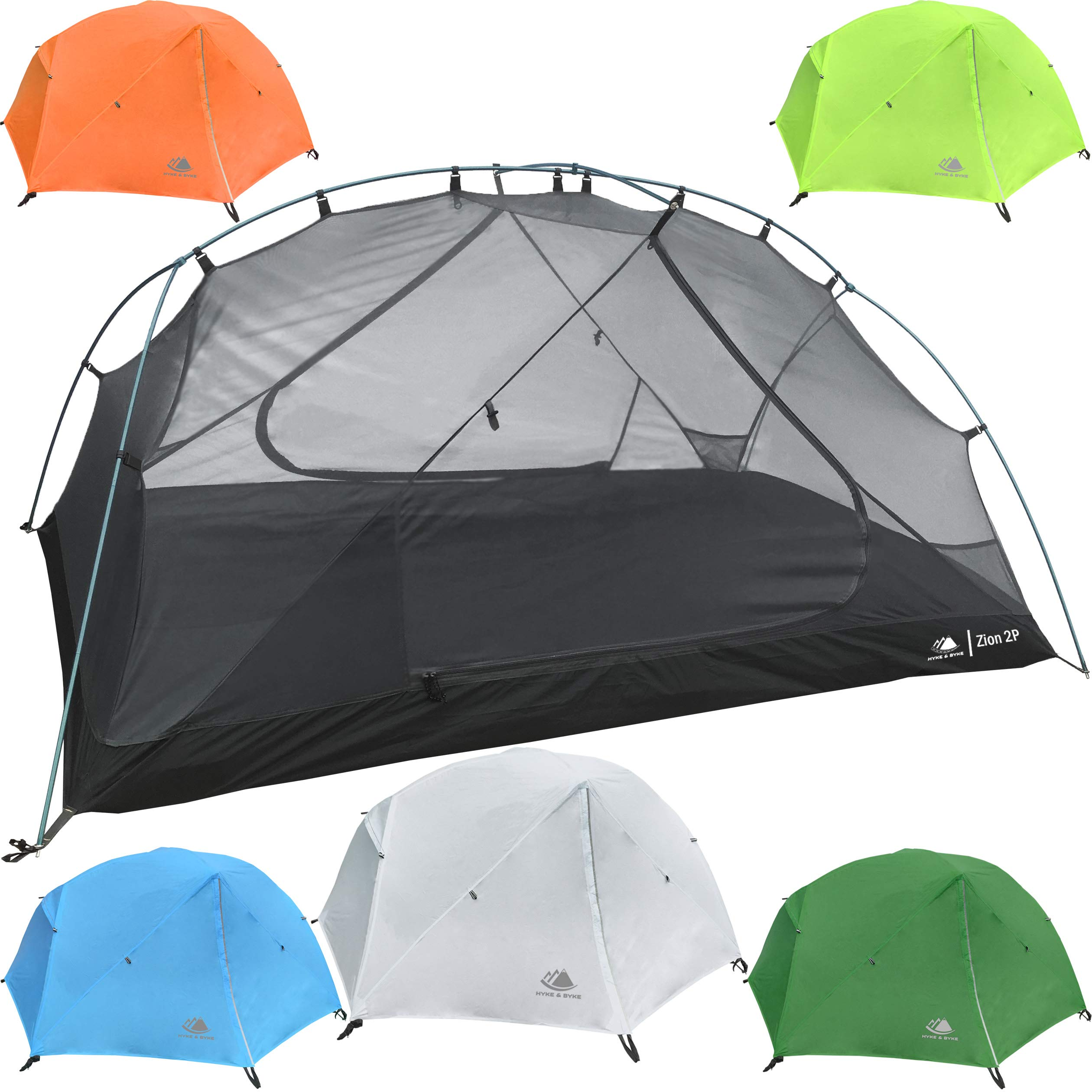 Hyke & Byke 2 Person Backpacking Tent with Footprint - Lightweight Zion Two Man 3 Season Ultralight, Waterproof, Ultra Compact 2p Freestanding Backpack Tents for Camping and Hiking (White) by Hyke & Byke