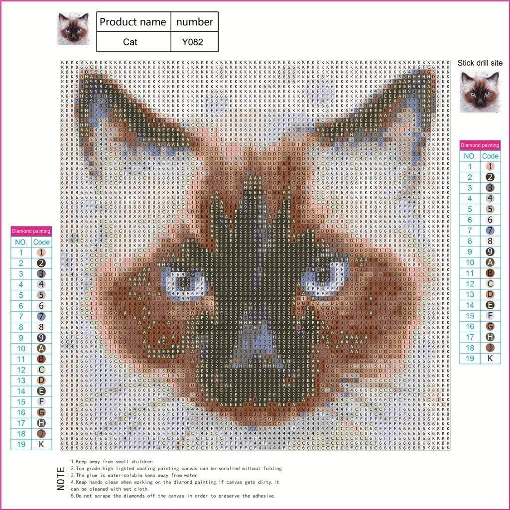 Siamese Cat Round Diamond Mosaic Painting DIY Cross Stitch 5D Drills Wild Cats