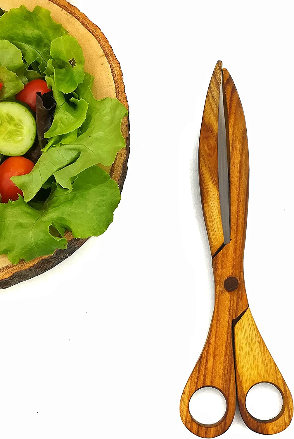 Wooden Utensils Kitchen Tools Wooden Kitchen Serving Food Tongs Spoon and Fork Teak Wood Salad Scissor Tongs - Servils by Kind Bear
