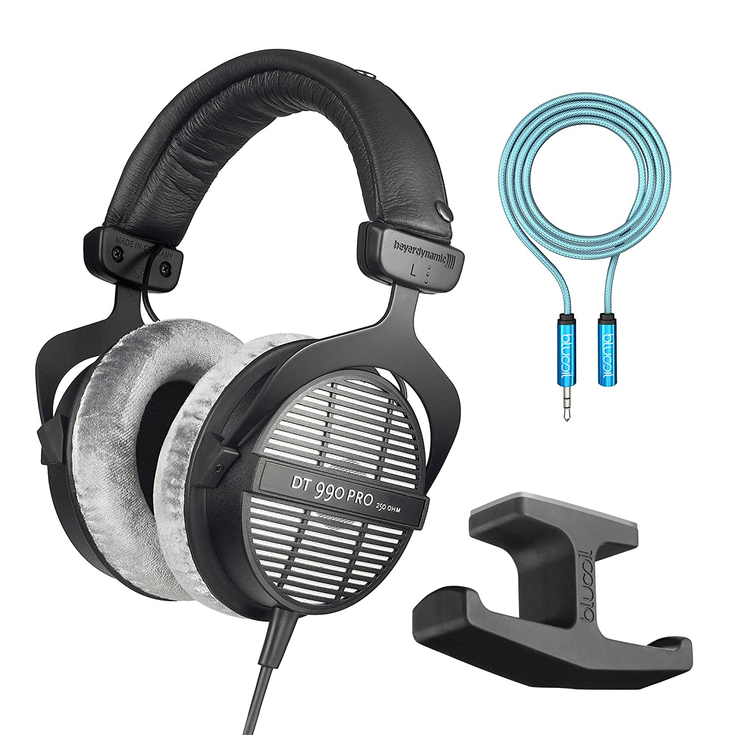 Beyerdynamic DT 990 PRO 250 Ohm Open Studio Headphones -INCLUDES- Blucoil Audio 6-Ft Extension Cable AND Stick-On Under Desk Dual Headphone Stand Mount 4334428055