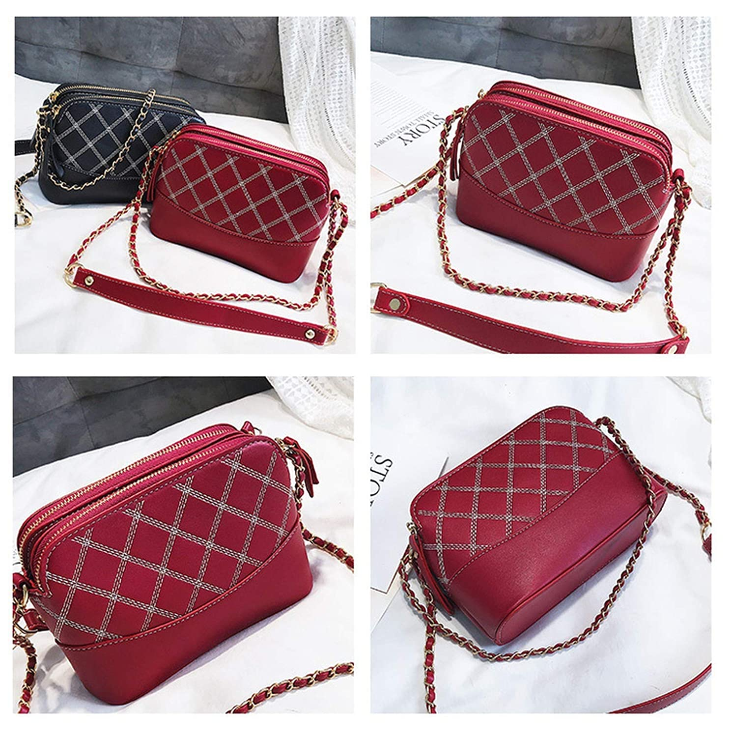 Female Leather Bags For Women Ladies Small Lattice Chain Mini Crossbody Bag Shell Shoulder Bags Bolsos Mujer, Black: Handbags: Amazon.com