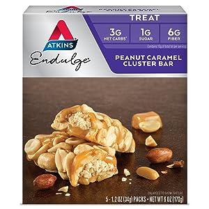 Atkins Endulge Treat, Peanut Caramel Cluster Bar, Keto Friendly, 5 Count