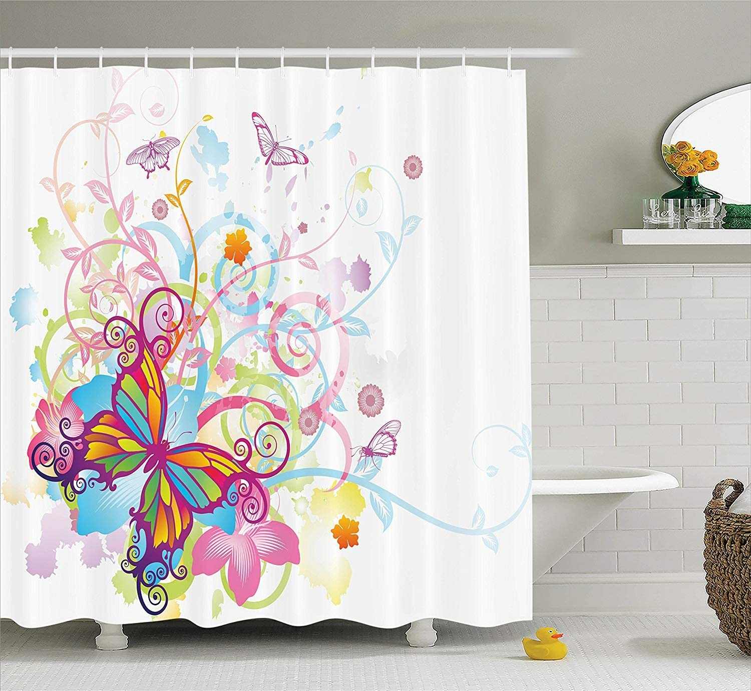 Ambesonne Butterfly Shower Curtain, Butterfly with Floral Elements and Leaves Curvy Branches Ornament Print, Cloth Fabric Bathroom Decor Set with Hooks, 75