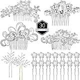 30 Pieces Wedding Bridal Hair Accessories Set 4 Pieces Rhinestone Wedding Hair Side Combs, 2 Pieces U-shaped Silvery…