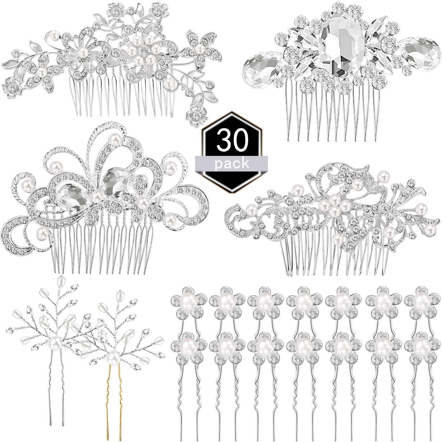 30 Pieces Wedding Bridal Hair Accessories Set 4 Pieces Rhinestone Wedding Hair Side Combs, 2 Pieces U-shaped Silvery Hair Clips, 24 Pieces Imitation Pearl Hairpins by Zonon