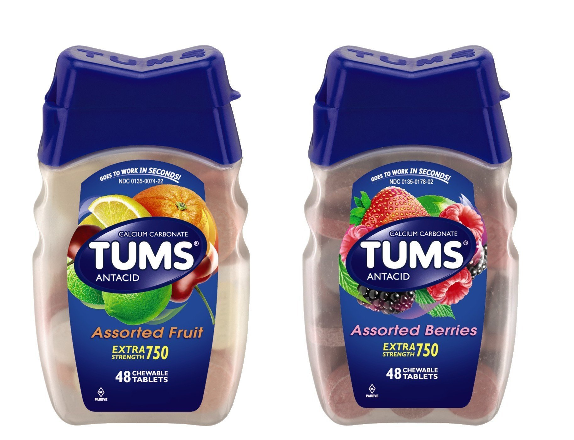 Tums Ex, Assorted Fruit, 48 Count (Combo (Pack of 2))