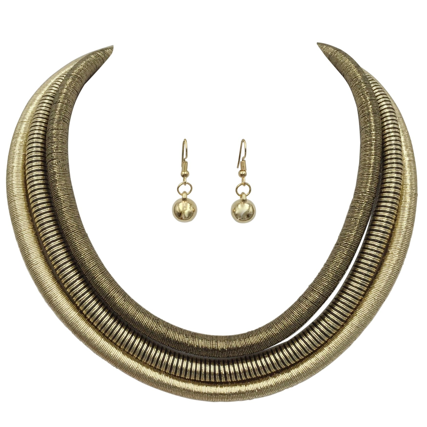Multi Row Layered Metallic Thread Statement Necklace and Dangle Earring Set (Gold Tones with Black)