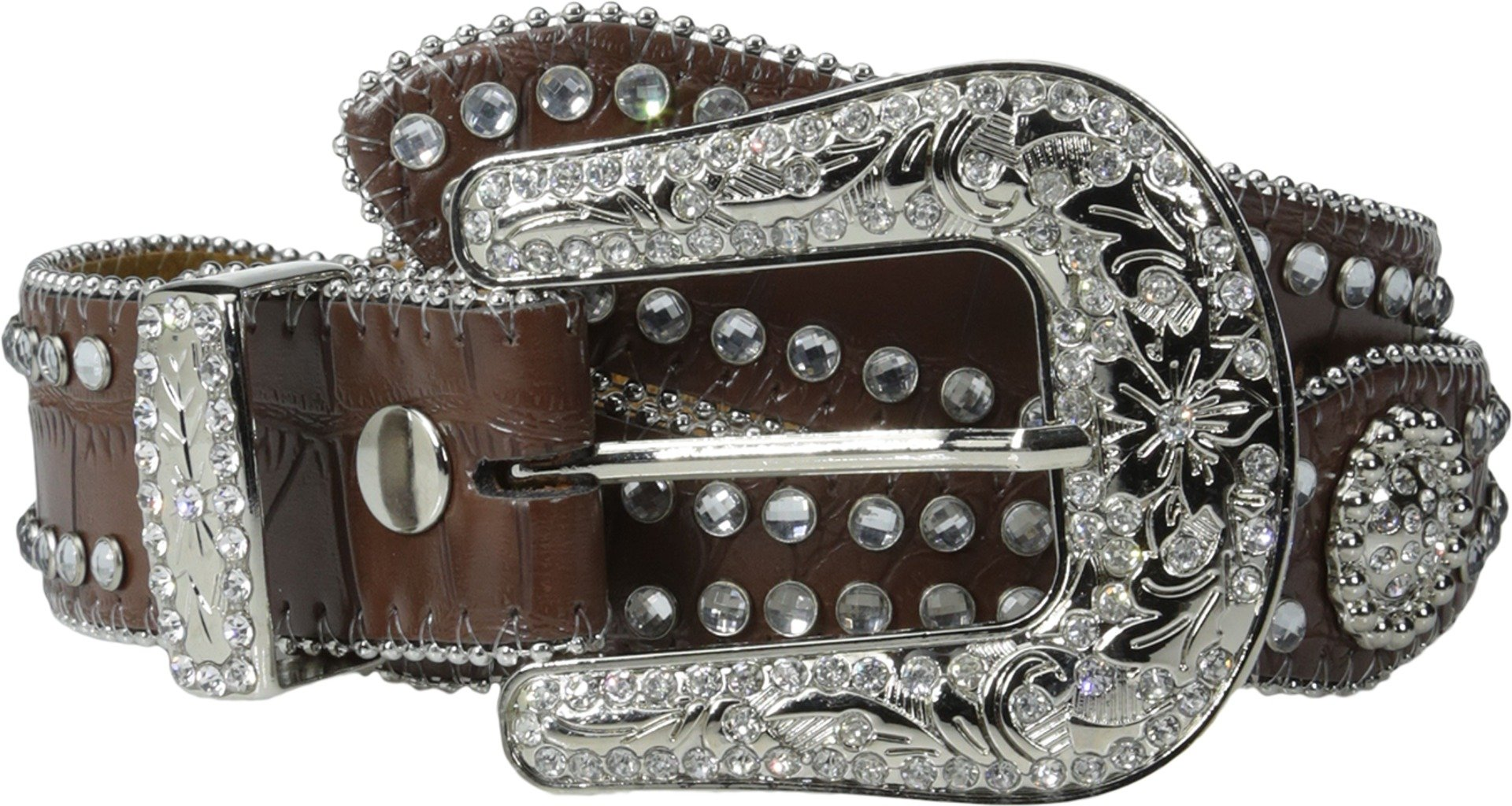 Nocona Girl's Faux Croc Print Ball Chain Edge Belt, Brown, 18