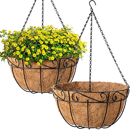Amazon Com Amagabeli 4 Pack Metal Hanging Planter Basket With Coco Coir Liner 12 Inch Round Wire Plant Holder With Chain Porch Decor Flower Pots Hanger Garden Decoration Indoor Outdoor Watering Hanging Baskets