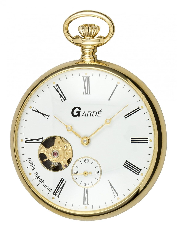 Garde Mechanic 6474 goldene Taschenuhr - offene Unruh - Glasboden
