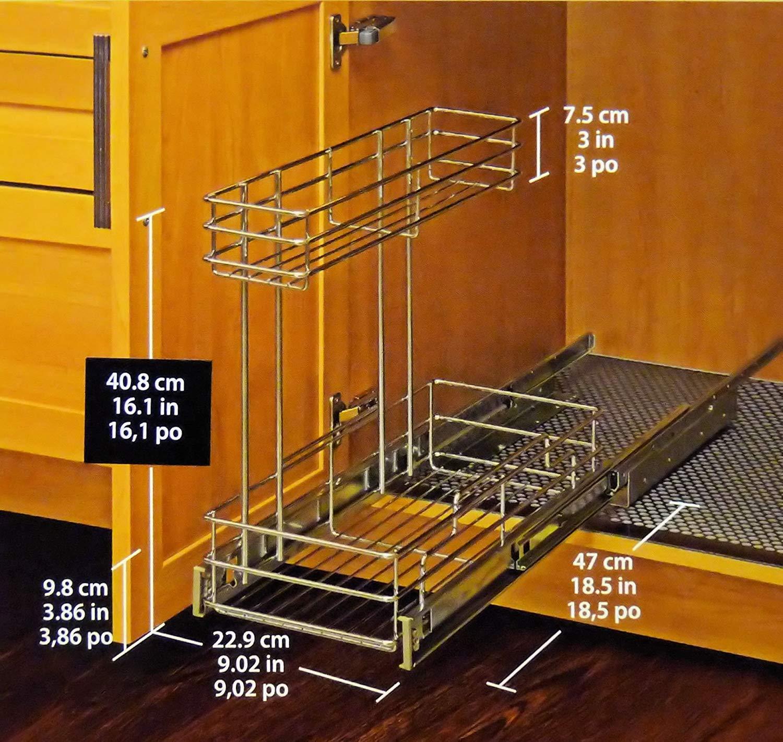 Richelieu Pull Out Cabinet Organizer 9 inch wide x 18.5 inch deep Chrome by Richelieu Hardware Ltd.