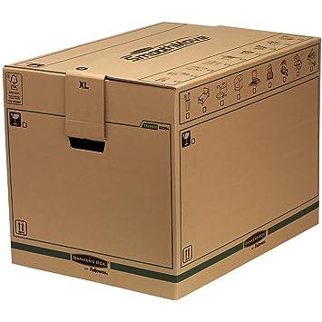 Fellowes 6205401 - Caja de transporte y mudanza, extragrande, beige, 5 unidades