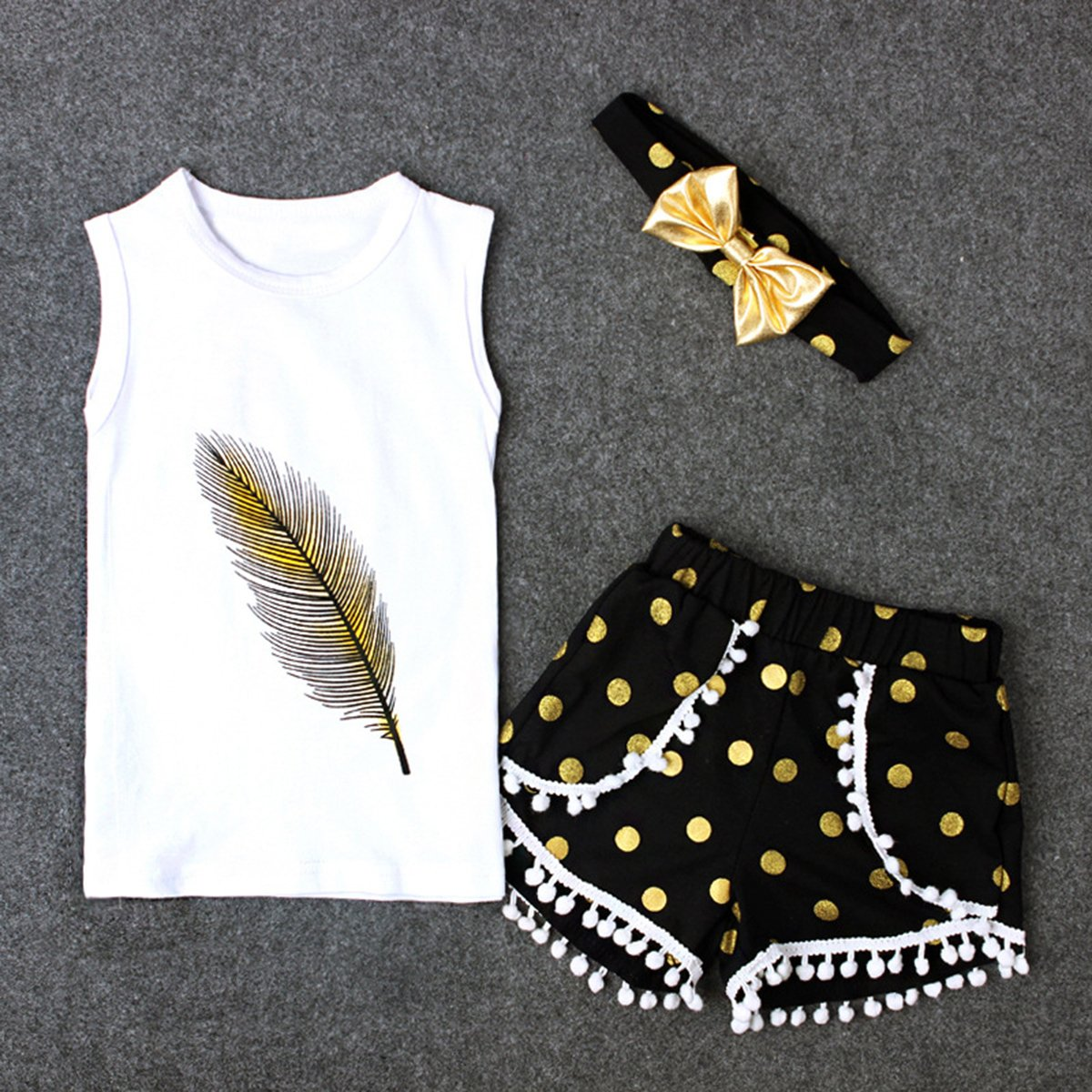 pantal/ón corto y diadema White+Black Talla:1-2 a/ños Conjunto de traje Puseky para ni/ña; con plumas camiseta sin mangas