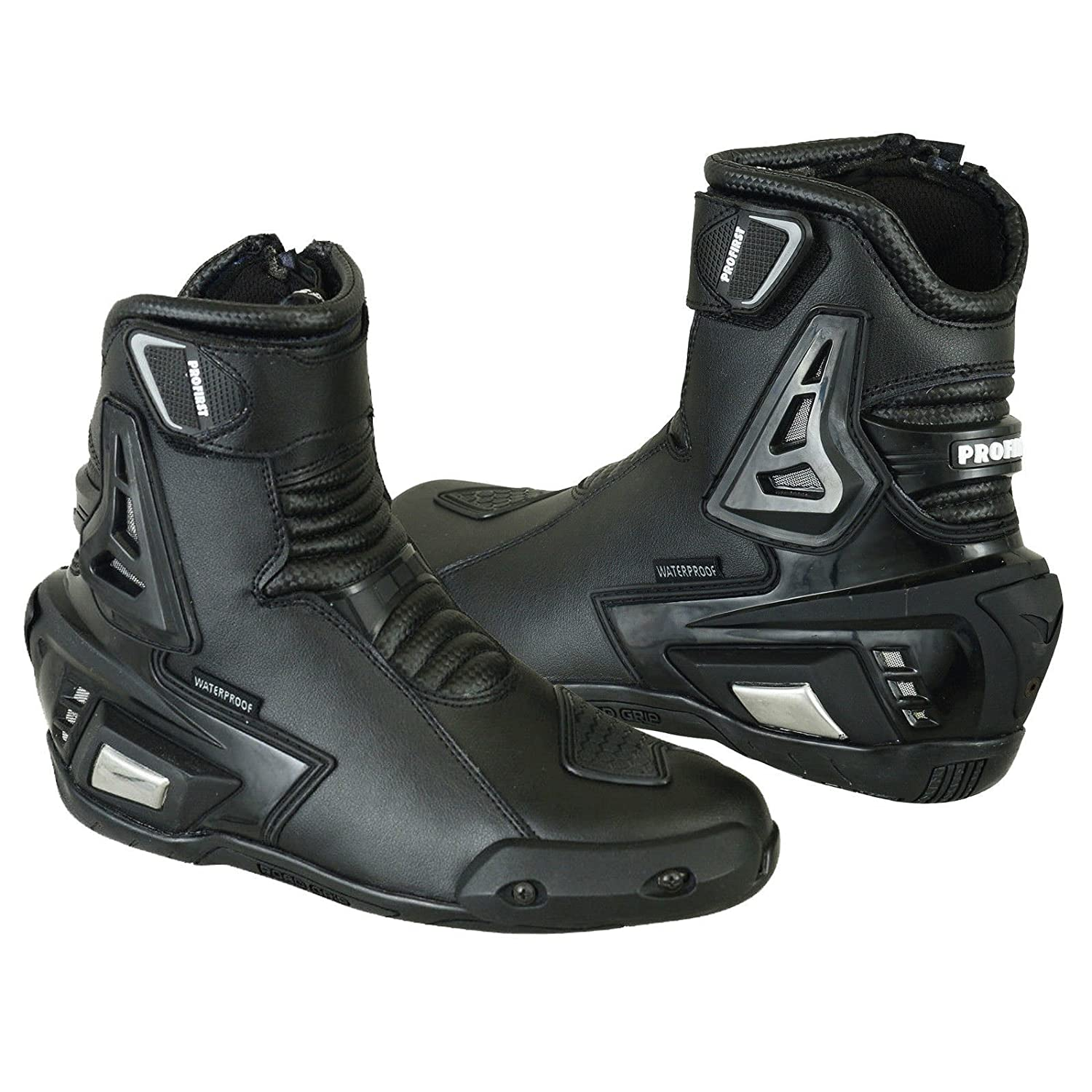 Profirst Global Motorbike Boots New Motorcycle Racing Rider Shoes Waterproof Touring for Men Boys 8 EU 42 Black