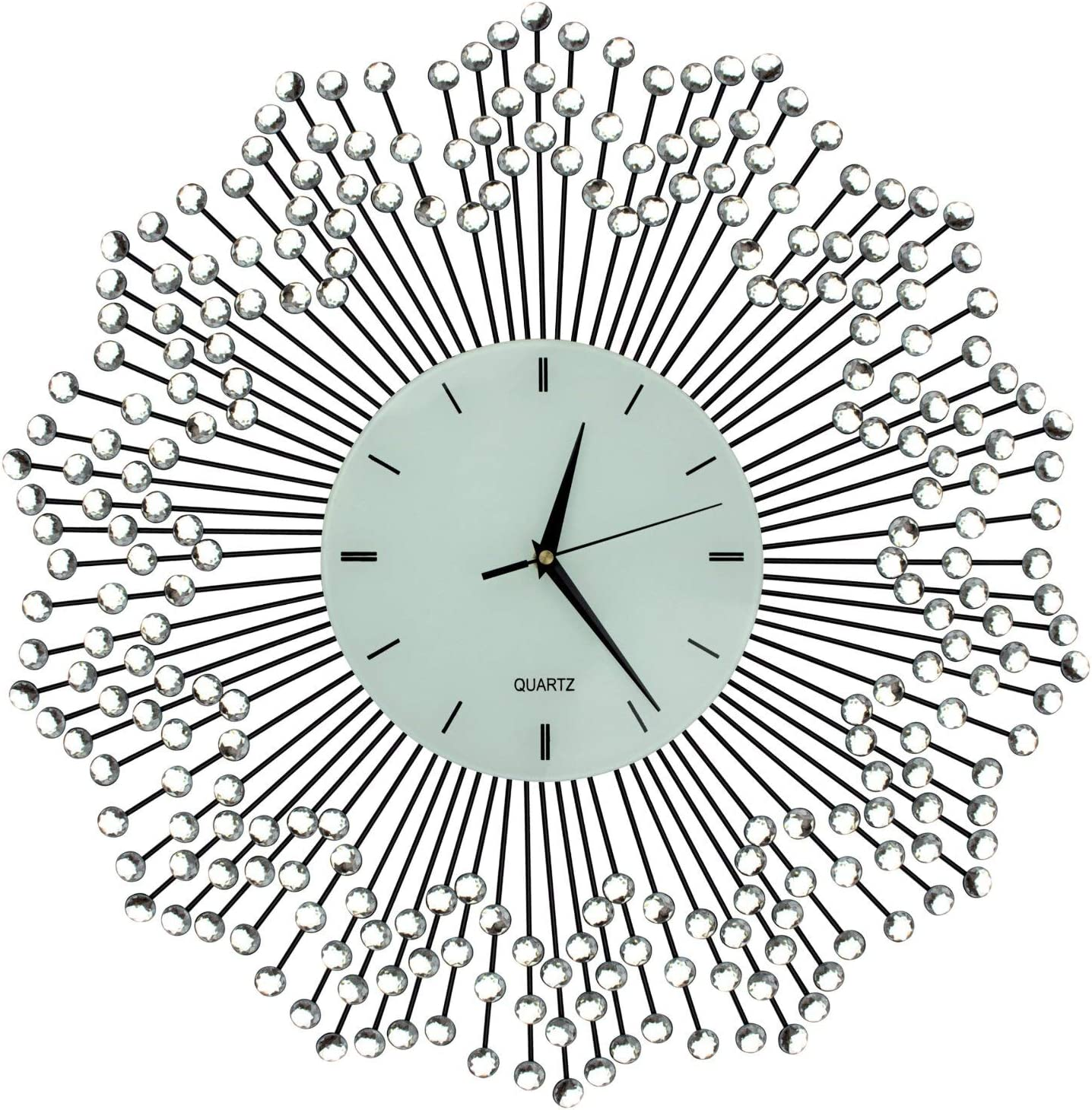 """Lulu Decor, Celebration Decorative Wall Clock 23"""", White Glass Lines Dial 8.5"""", Handmade Metal Clock for Living Room, Bedroom, Office Space"""