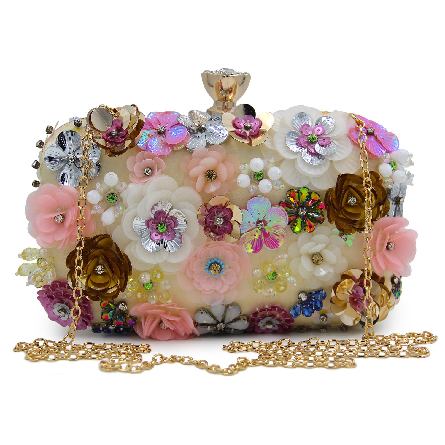 ba7235e163 Flada Girl s Colored Flowers Rhinestone Clutch Handbag Evening Prom Party Purse  Bags Gold  Amazon.co.uk  Luggage