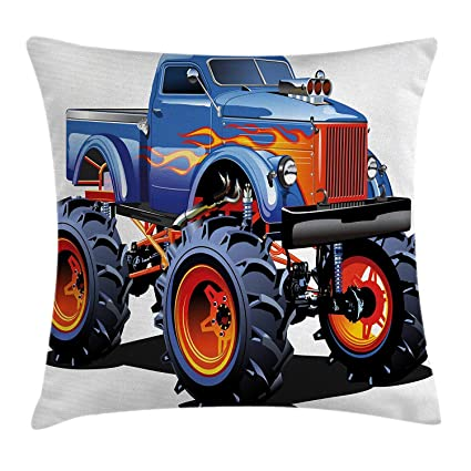 NGDUTZ Man Cave Decor Throw Pillow Cushion Cover, Cartoon Monster Truck Huge Tyres Off-