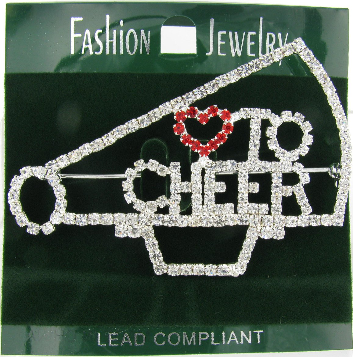 Love to Cheer Outline Megaphone Rhinestone Word Brooch Pin with Red and Clear Crystals