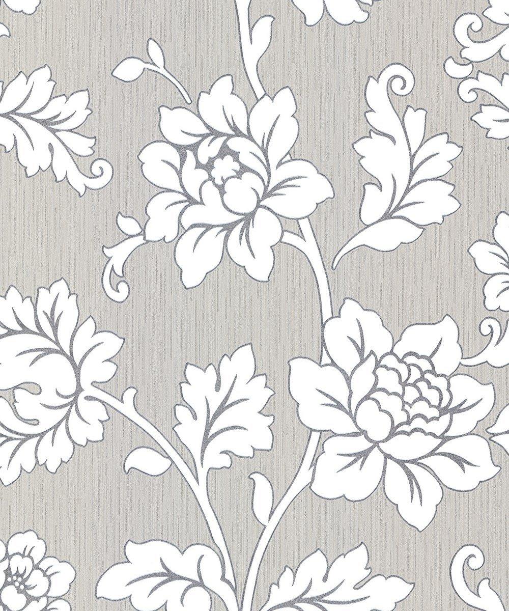 Floral Metallic Wallpaper Ochre Yellow Grey Silver Gold Flowers Arthouse Anya