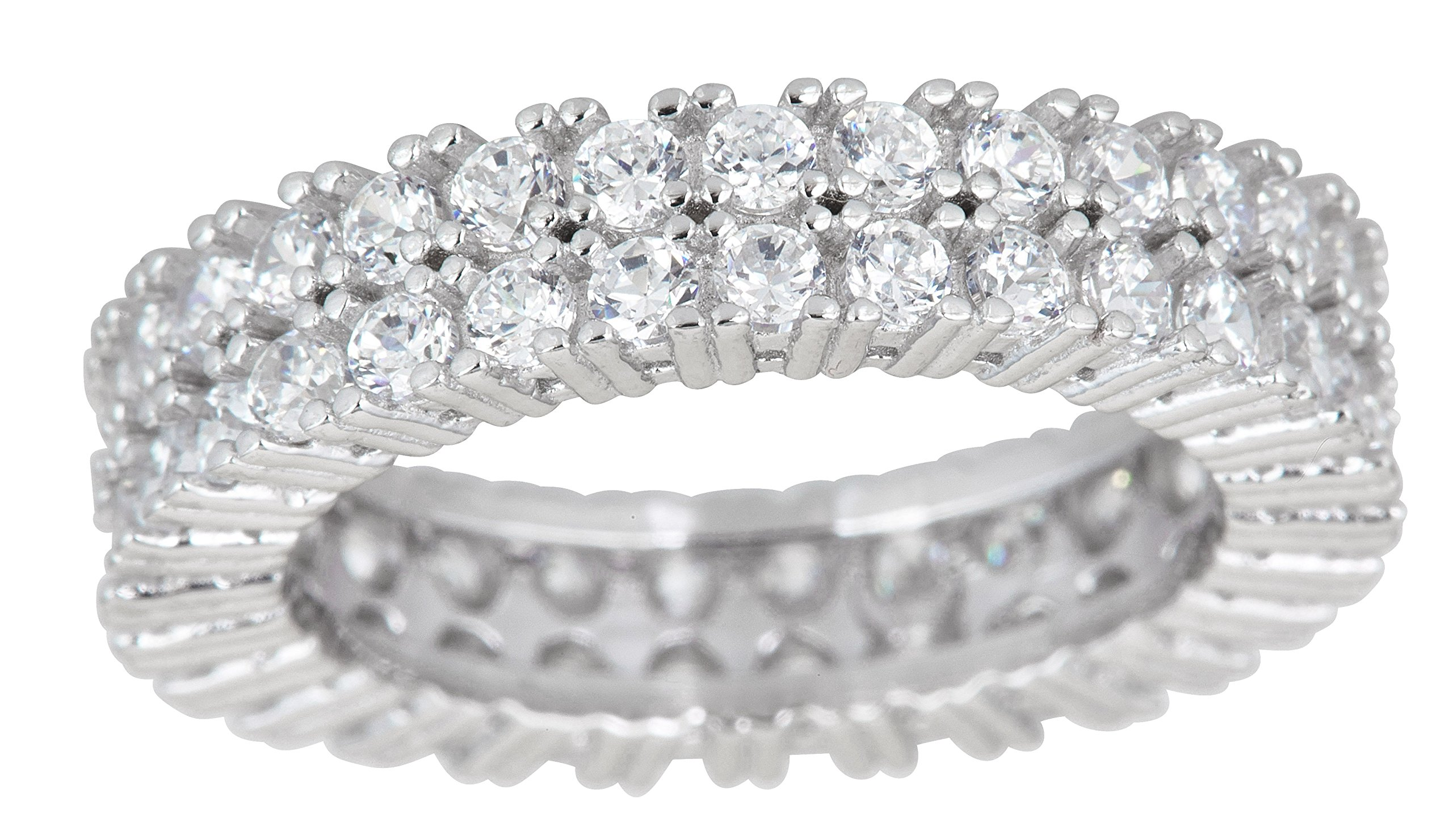 Sterling Silver 2 Row Prong Set Round Cut Cubic Zirconia Eternity Band Ring