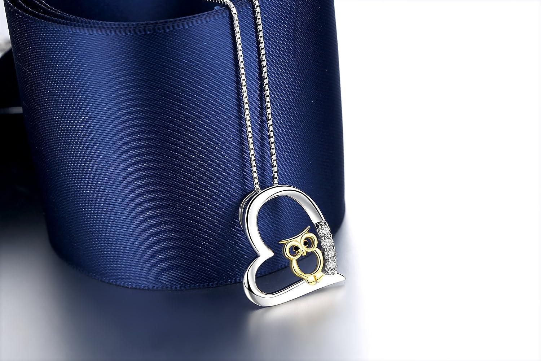cuoka 925 Sterling Silber Two Tone Eule Herz Anhänger Halskette Schmuck für Frauen Mädchen … JFA-N-0056